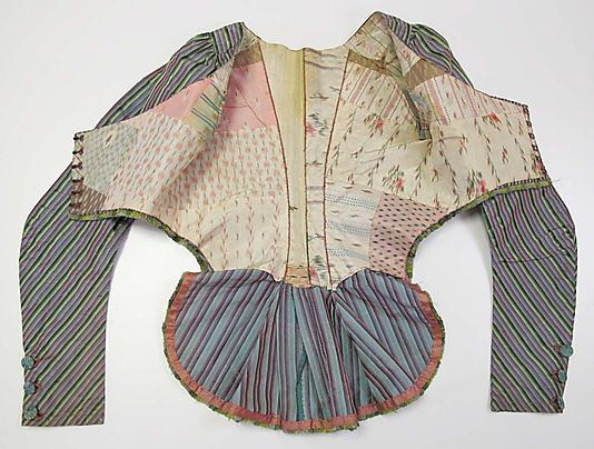 Jacket MET late 18th century. Inside - all the different fabrics used to line it!