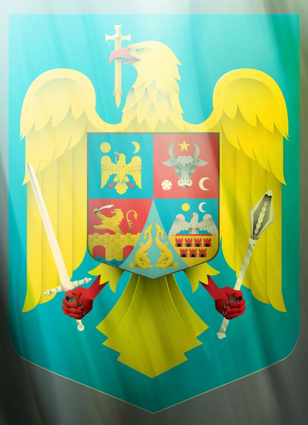 Romanian coat of arms, updated and in vector , via Behance: Around The World