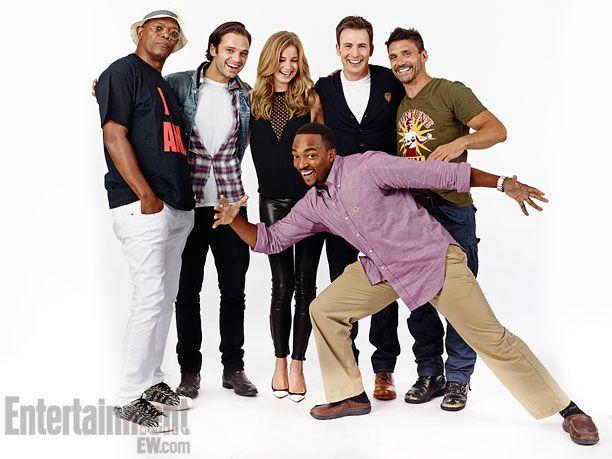 Samuel L. Jackson, Sebastian Stan, Emily VanCamp, Chris Evans, Frank Grillo; (foreground) Anthony Mackie, Captain America: The Winter Soldier