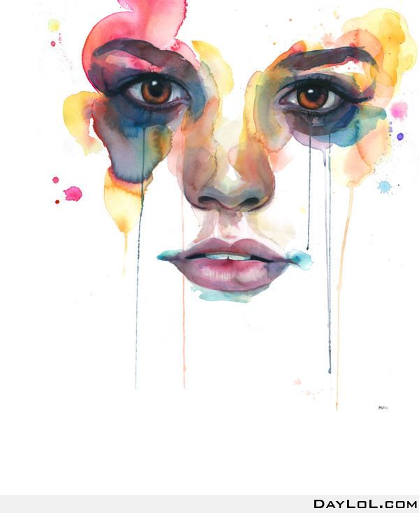 17. This wonderful water-colour piece uses complimentary colours which make the face seem more vibrant and intense. The lighting in the picture is head on to show you that the womans face is 3-d by the highlight on her nose and on her lips. The shape of her face is in a triangle to help keep her face proportional.