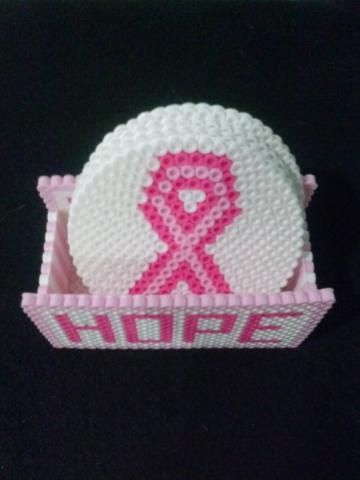 Hope for a Cure Pink and White Breast Cancer Awareness Pink Ribbon  Set of Four Coasters Including Coaster Holder - Handmade Perler Bead Coaster Set
