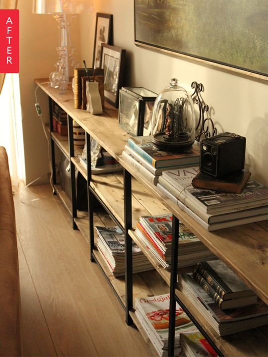 "This might just solve the search for studio shelving.  ""Before & After: A Super Cheap IKEA Shelf Goes Incognito"""