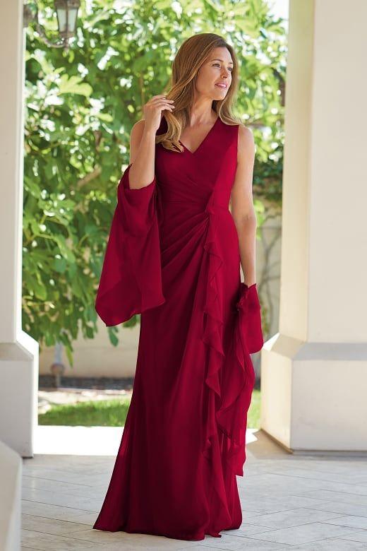 81ea90d5c6c J215005 Jade Tiffany Chiffon MOB Dress with V-Neckline