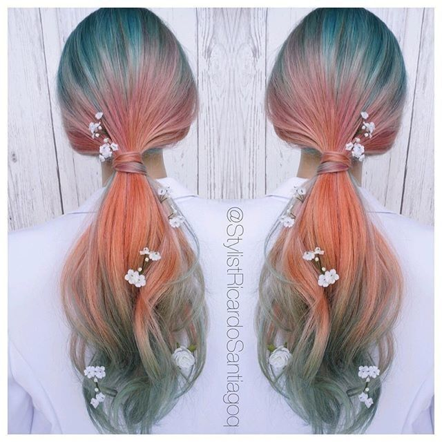 Sunset mermaid hair goals  #Hairspiration by @stylistricardosantiago