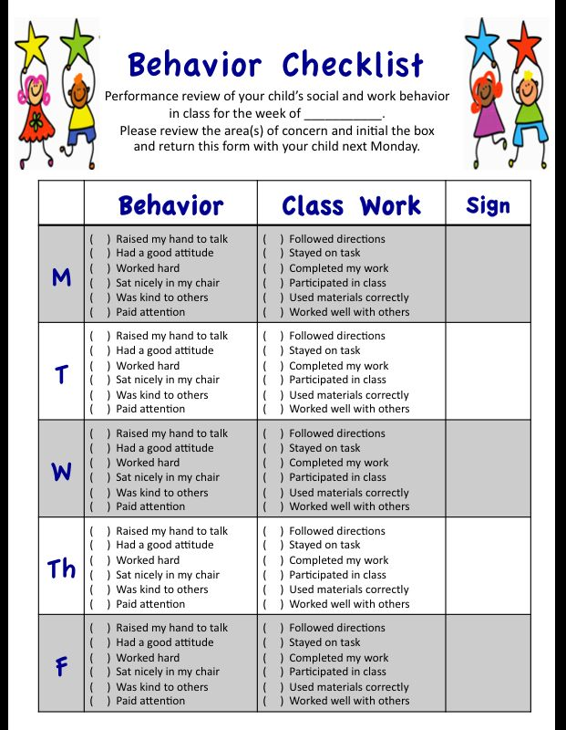 My weekly behavior checklist for students' social and academic performances in class.  Designed with K-3 grades in mind