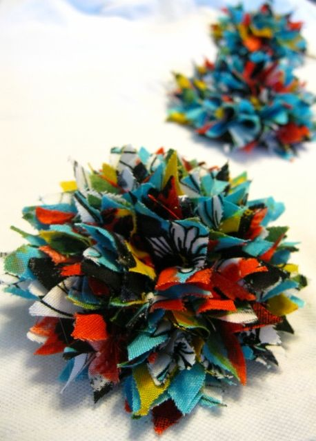 Cute Hair clips made with fabric scraps