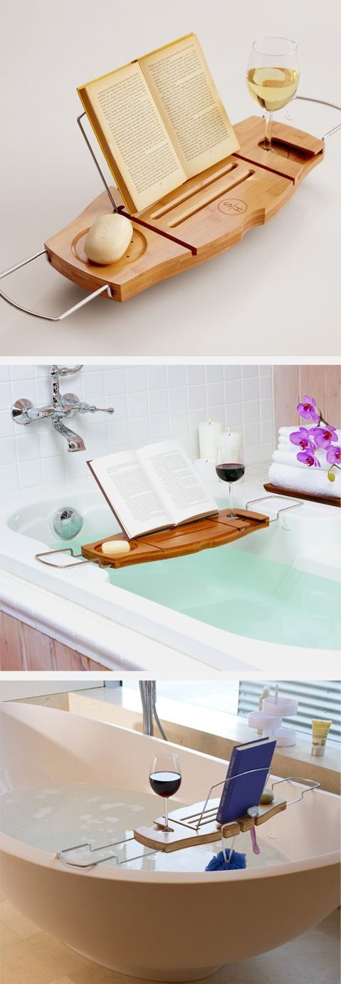 Ultimate Bath Caddy // with book rest and wine glass holder. Awesome! #product_design