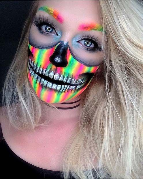 Colorful Skeleton Halloween Makeup Idea for Women