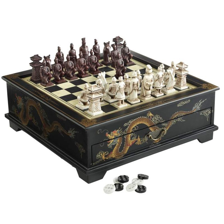 Display the Pier 1 Black Dragon Chess Set as exotic home decor