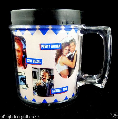 Vintage SHOWTIME MOVIE MUG Touchstone Pictures 1990 Hits Insulated Cup  - Pretty Woman - Teenage Mutant Ninja Turtles - Back to the Future Part II - Robocop - AND MORE!! BlingBlinky.com