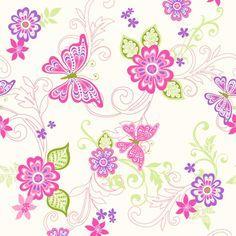 Butterfly Scrolls Pink, Green & Purple Wallpaper