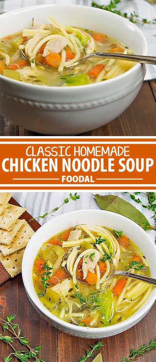 Feeling under the weather? Struggling to make it through the day and all you want is a simple, reliable, and soothing meal to help you feel better? This comforting chicken noodle soup is just what you need. After a bowl of this and a good night's sleep, you'll be ready for tomorrow. Get the recipe now on Foodal.