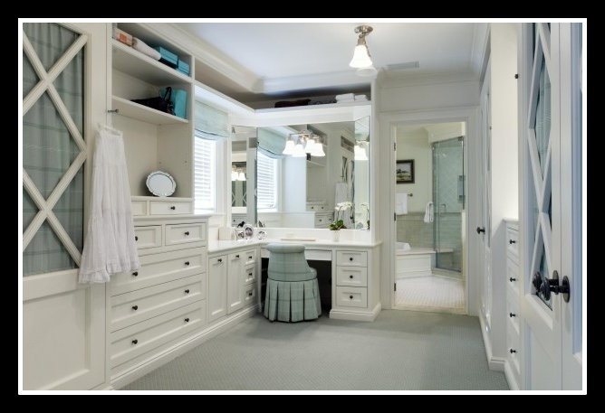 Walk In Closet Off The Bathroom With A Makeup Vanity With Plenty Of Natural And Artificial