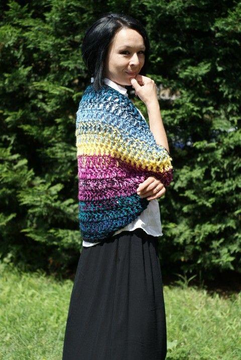 Gypsy (svetr) háčkovaný svetr pestrý barevný pléd bolero