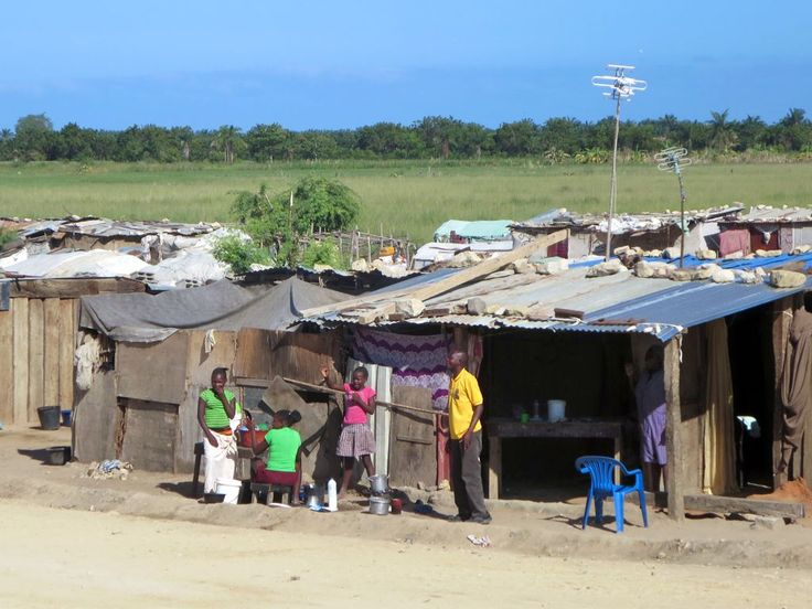 Squatter settlements are seen along the railway line between Lobito and Benguela, Angola.