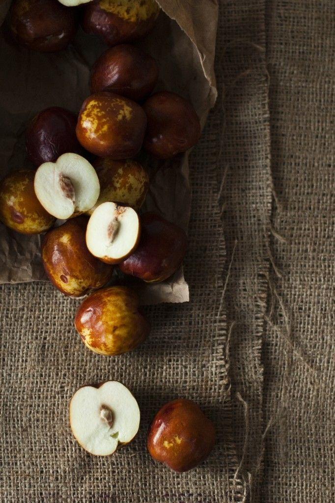jujubes. like a tiny apple when ripened, or when dried, tastes like fig. yum.