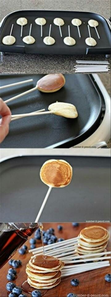 """The kids will LOVE this idea for breakfast!  Make it a healthy pancake """"pop"""" with the #skinnyms recipe for Old Fashioned Pancakes :)  #pancakes #fun #breakfast"""