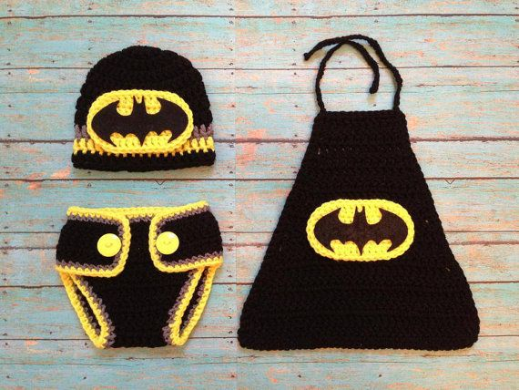 Newborn Batman Outfit por BySherylsCrochet en Etsy