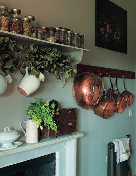 Painted Kitchen Shelf & Hooks | photo Christopher Drake | design Annie Sloan | House & Home: Farmhouse Decor, Pots Racks, Copper Pan, Kitchens Shelves, French Farmhouse Kitchens, Kitchens Ideas, Farmhouse Style, Copper Pots, Hanging Pots