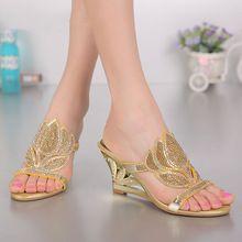 2016 nuove donne di modo viola oro sexy tacco alto cunei di diamante dei sandali scarpe estive femminili 8 cm di alta qualità(China (Mainland))