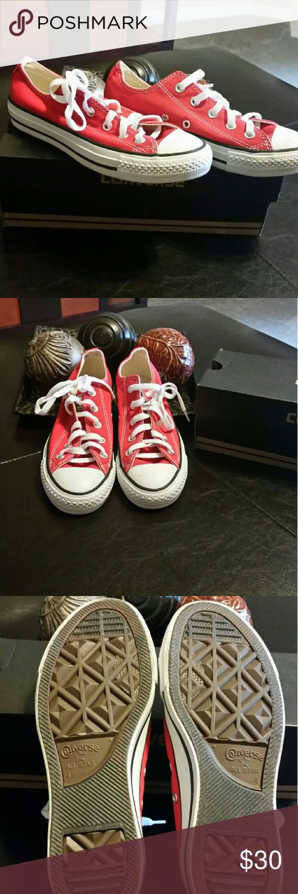 Red Converse All Stars, unisex Cool, red, low-top Converse All Stars! Excellent condition! Worn once! Converse Shoes Sneakers