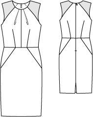 Burda 08/2012 Жаккардовая ткань 1,60–1,60–2,00–2,00–2,00 м шириной 110 см; ткань, расшитая пайетками, 0,30 м шириной 120 см для всех размеров; подкладочная ткань 1,25–1,30–1,30–1,35–1,35 м шириной 140 см; флизелин формбанд; 1 потайная застежкамолния длиной 60 см