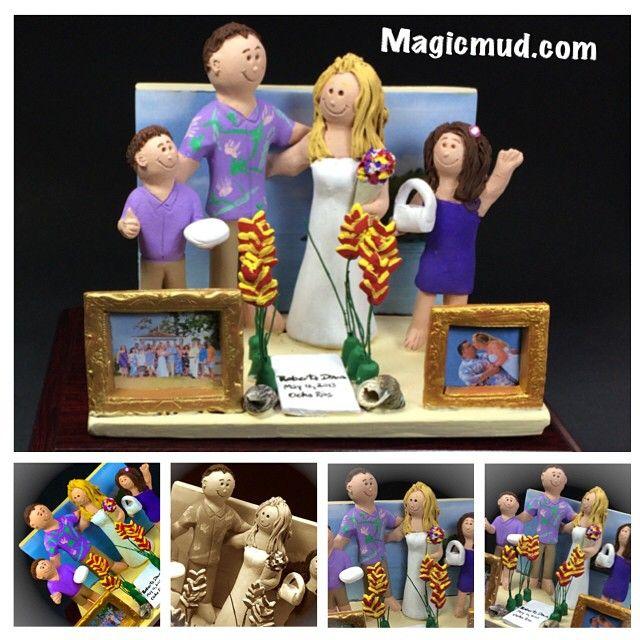 Blended family wedding cake topper  #weddingcaketoppers #weddingCakeTopper #mixedfamily #blendedfamily #blendedfamilywedding #caketoppers #caketopper #magicmud.com #beachwedding