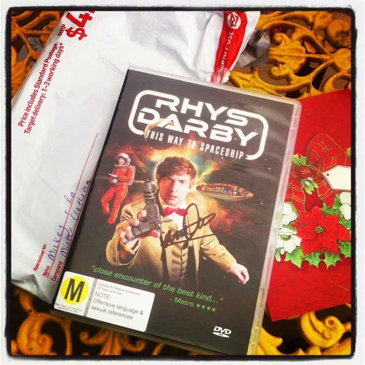 Xmas came early for us today! Received a signed copy of Rhys Darby's new DVD, direct from the man himself! Thnx Rhys & Rosie.