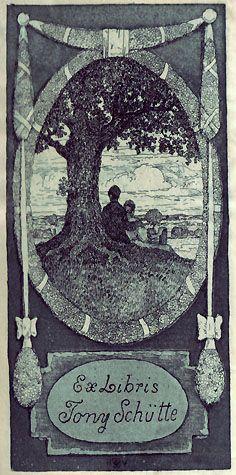 Bookplate by Heinrich Johann Vogeler for Tony Schutte, 1905
