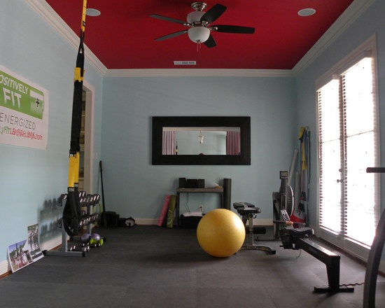 Paint color with black accents workout room pinterest