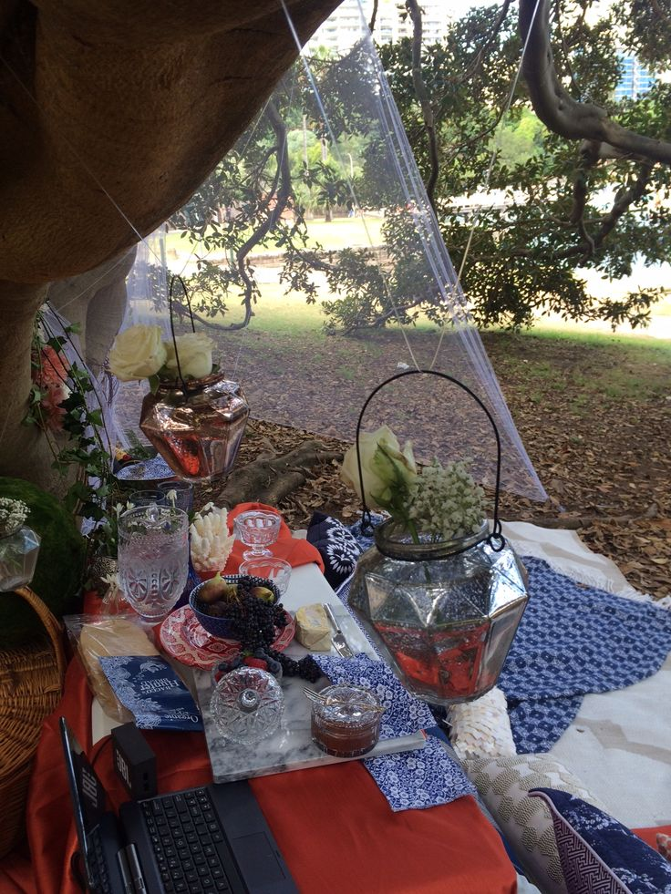 Hanging votives with flowers