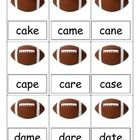 This is a card game to play at teacher table with a small group. It contains many football cards where children read the silent e word at the bott...