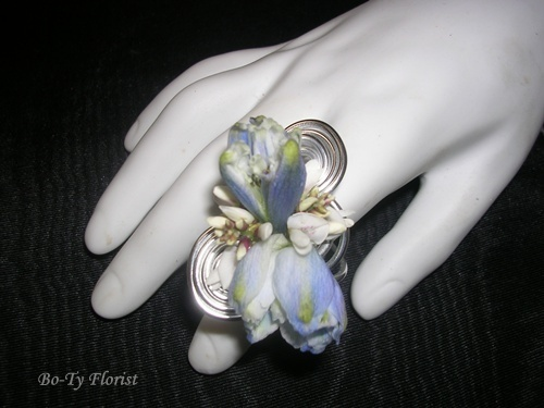 """Prom Flowers - Ring """"corsage"""" of blue delphinium."""