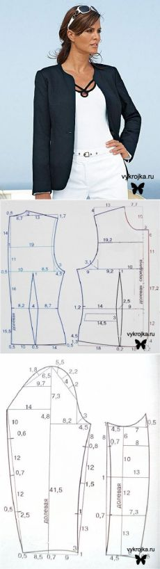 Jacket pattern to draft from: выкройка элегантного жакета