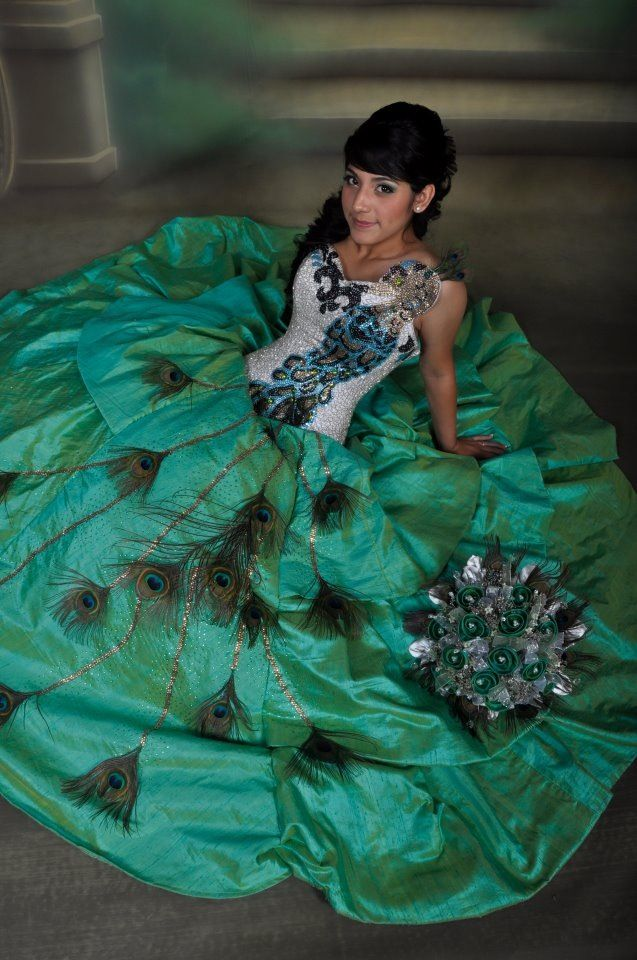 Peacock Quinceanera Dress.