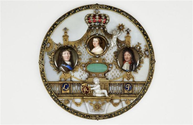 Miniature portraits of Anne of Austria and her sons Louis XIV and Philippe d'Orleans, mid 17th century by Jean Petitot le Vieux (1607-1691)