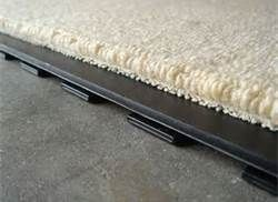 lifted flooring and waterproof padding. great for basements and leaking.