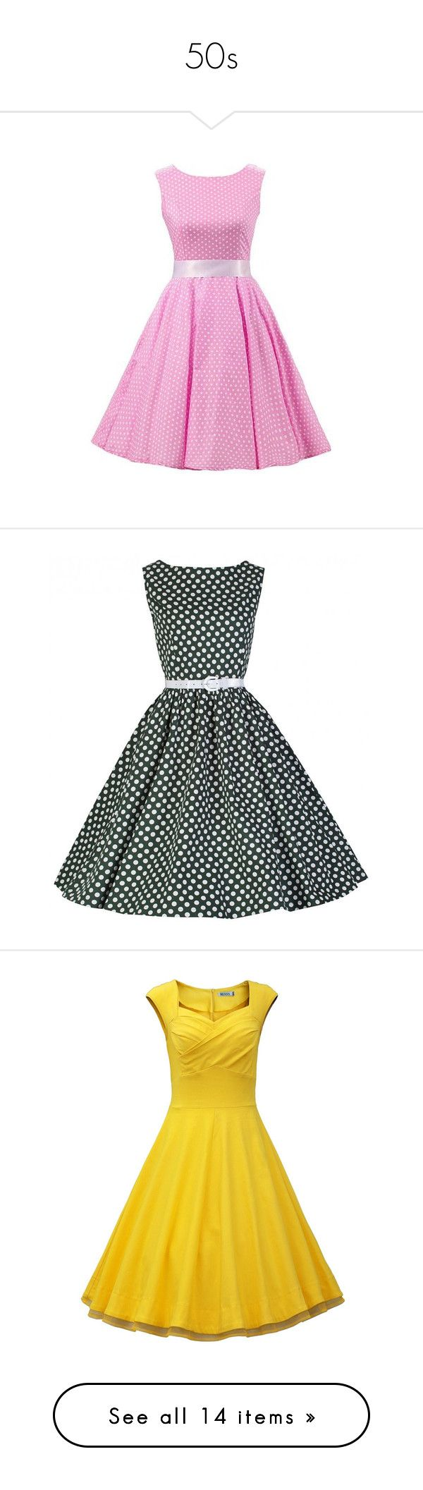 """""""50s"""" by queen-anna24 ❤ liked on Polyvore featuring dresses, short pink dress, white mini dress, short dresses, white sleeveless dress, short white dresses, green, vintage day dress, polka dot skater skirt and tent dress"""