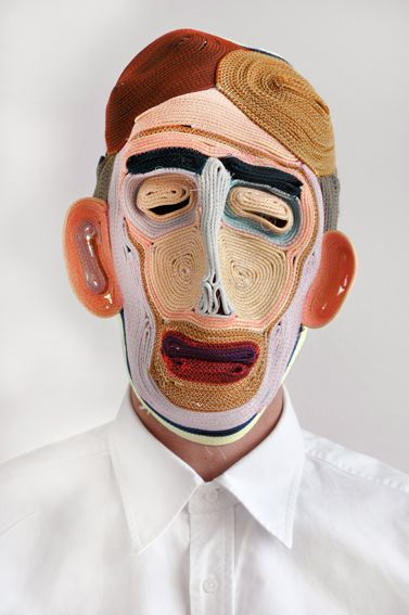 """Studio Bertjan Pot - Masks 2010 : """"Although seemingly these masks tell stories, this again started out as a material experiment. I wanted to find out if by stitching a rope together I could make a large flat carpet. Instead of flat, the samples got curvy. When I was about to give up on the carpet, Vladi came up with the idea of shaping the rope into masks. The possibilities are endless, I'm meeting new faces every day."""""""