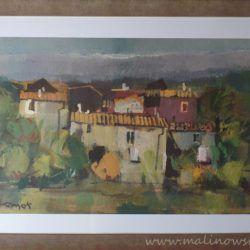 """Piękna reprodukcja obrazu """" Na włoskiej prowincji"""",  autorstwa Lamali, w eleganckiej ramie, wymiary ok 56 x 76 cm"""