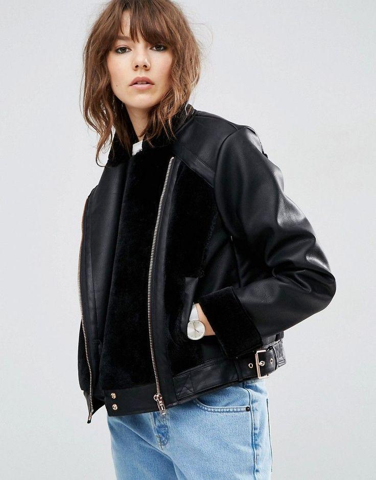 ASOS Leather Look Biker Jacket with Fur Panels - Black
