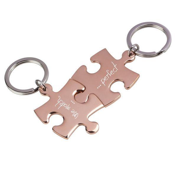 Schlüsselanhänger - Partner-Schlüsselanhänger Gravur Puzzle rg/rg - ein Designerstück von trendgravur bei DaWanda