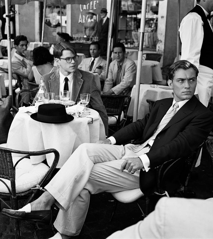 Matt Damon and Jude Law on the set of 'The Talented Mr. Ripley', Rome, (1998).  Photo by Brigitte Lacombe.