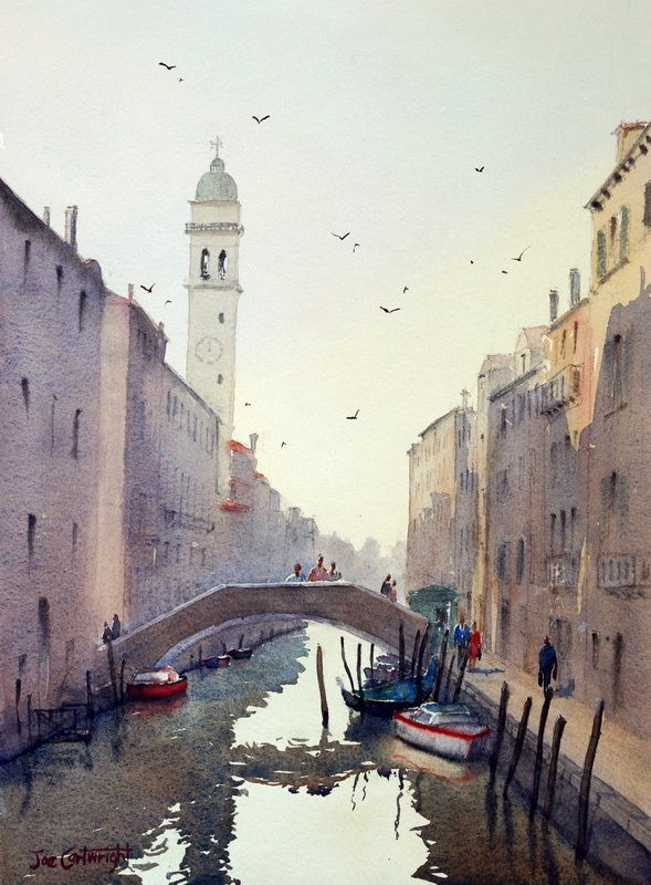 Leaning tower of San Giorgio dei Greci watercolor painting by Joe Cartwright.(http://www.paintingwithwatercolors.com/san-giorgio-dei-greci-venice-italy/)