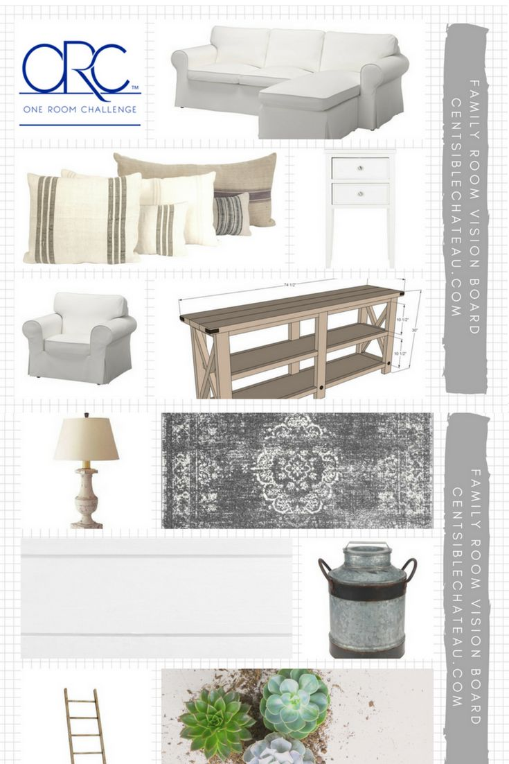 In One Week Challenge Week Two we are sharing the vision board for our Farmhouse Style Family Room. Our Fixer Upper inspired design will include Ikea White Couches, DIY furniture, Painted Furniture, Sherwin Williams Light French Gray and repurposed decor.