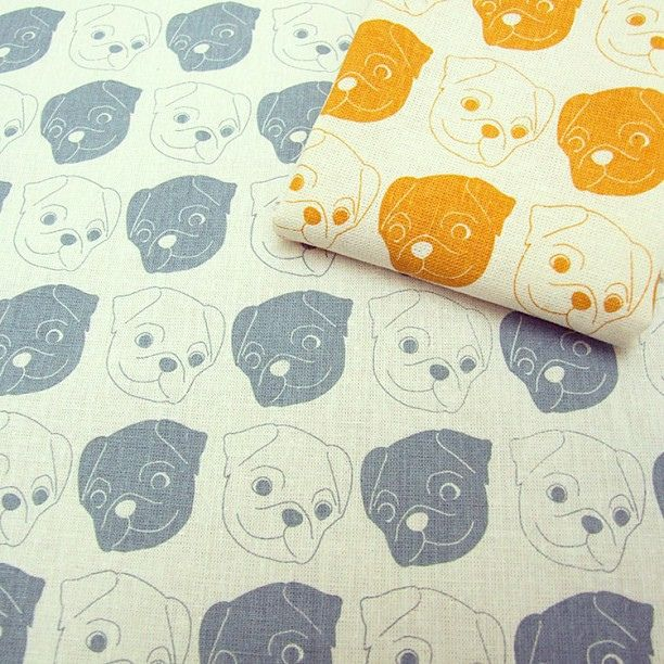 The Happy Pugs fabric is now available in my Etsy shop :) #pug #fabric #screenprinting | Flickr: Intercambio de fotos