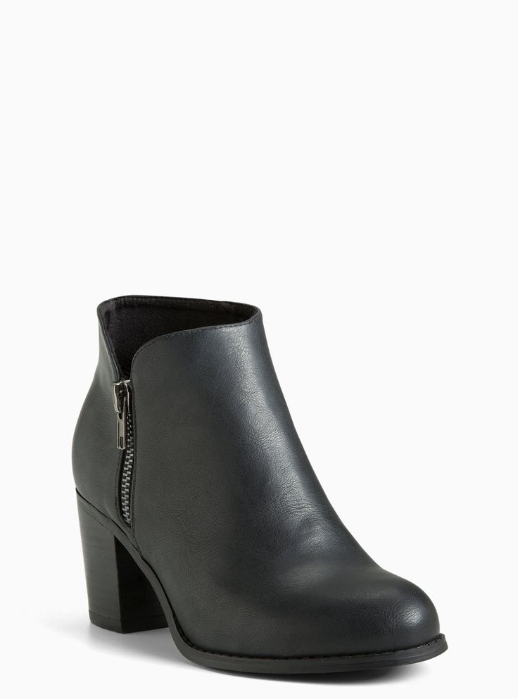 Faux Leather Zip Ankle Booties (Wide Width) | Torrid