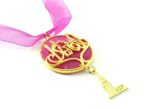 Pink istanbul maiden tower charm gemstone by HirasuGaleri on Etsy, $35.00 #gemstone  #necklace #pink #organza #ribbon  #gold_plated #brass #chain #handmade #turkish #ottoman # women # accessores #Istanbul