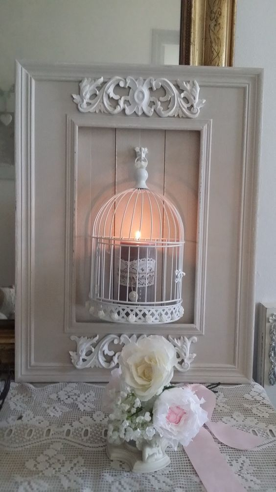 Applique bougeoirs mural lin et blanc style shabby chic for Bougeoir shabby chic