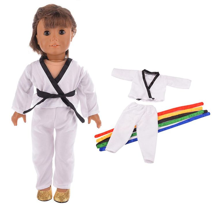 Dolls Accessories Cute Dolls Taekwondo Dobok Suit Uniform with 5 Belts for 18'' American Girl Doll Dress Up Doll Clothes Collect